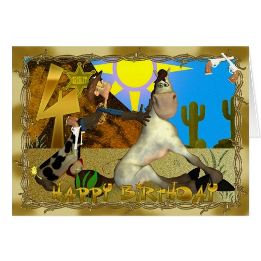 Happy Rooting Tooting 4th Birthday Greeting Cards
