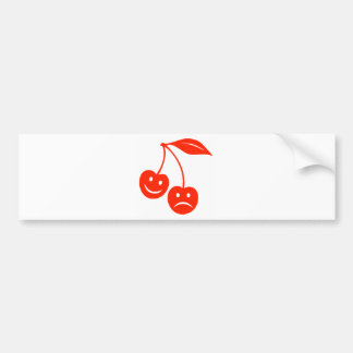 Happy/Sad (Smiling/Frowning) Cartoon Cherries Bumper Sticker