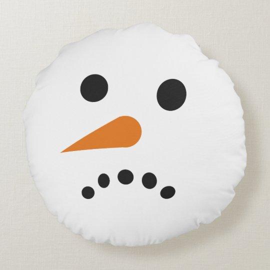 Happy Sad Snowman Holiday Pillow