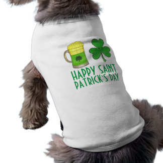 Happy Saint Patrick's Day Beer Shamrock Dog Shirt