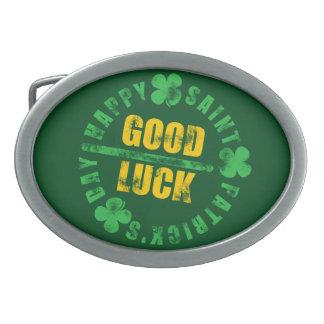 Happy Saint Patricks Day Good Luck Belt Buckles