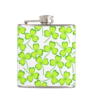 Happy Saint Patrick's Day, Three Leaf Clovers Flasks