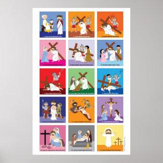 Happy Saints Way of the Cross Poster