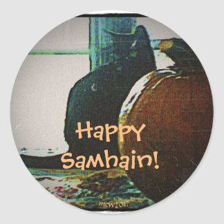 Happy Samhain Autumn's Greatest Treats Classic Round Sticker