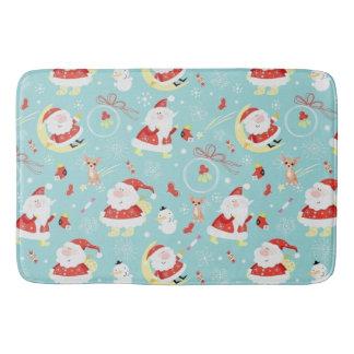 Happy Santa And Frosty And Chihuahua Bath Mat