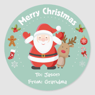Happy Santa and Rudolph Christmas Stickers