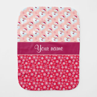 Happy Santa and Snowflakes Personalized Burp Cloth