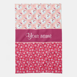 Happy Santa and Snowflakes Personalized Hand Towels