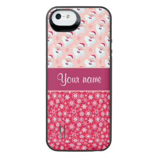 Happy Santa and Snowflakes Personalized iPhone SE/5/5s Battery Case