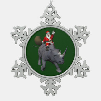 Happy Santa Claus On Rhino Rhinoceros Pewter Snowflake Ornament