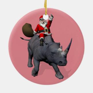 Happy Santa Claus On Rhino Rhinoceros Round Ceramic Ornament