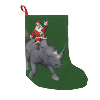 Happy Santa Claus On Rhino Rhinoceros Small Christmas Stocking