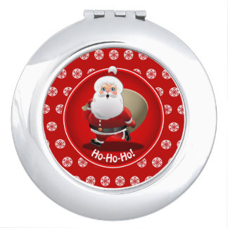 Happy Santa Claus With A Sack Full Of Xmas Gifts Vanity Mirror