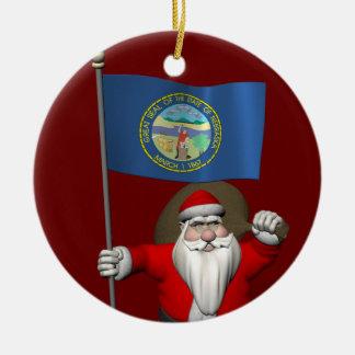 Happy Santa Claus With Ensign Of Nebraska Round Ceramic Ornament