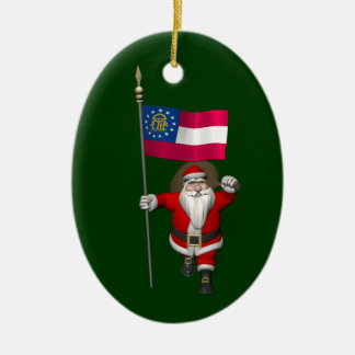Happy Santa Claus With Flag Of Georgia Ceramic Ornament