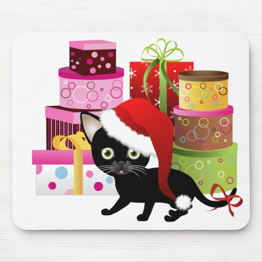 Happy Santa Hat Kitty Mouse Pad