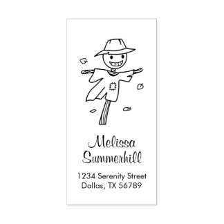 Happy Scarecrow Address Rubber Stamp