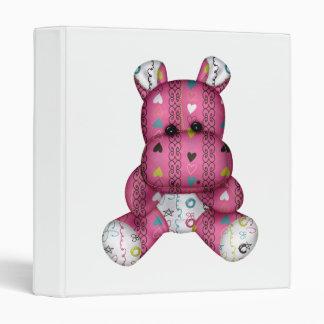 happy scribble hearts hippo vinyl binder