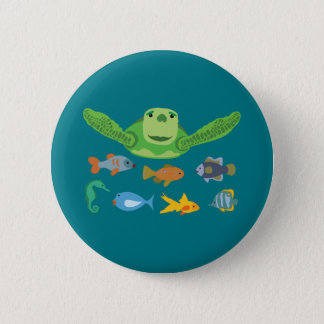 Happy Sea Turtle and Fish Swimming in the Sea 2 Inch Round Button