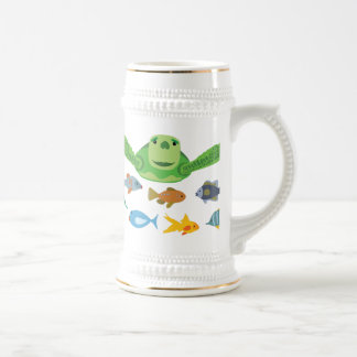 Happy Sea Turtle and Fish Swimming in the Sea Beer Stein
