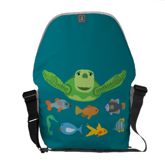 Happy Sea Turtle and Fish Swimming in the Sea Courier Bags