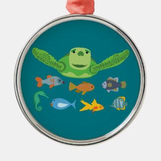 Happy Sea Turtle and Fish Swimming in the Sea Metal Ornament