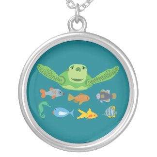 Happy Sea Turtle and Fish Swimming in the Sea Silver Plated Necklace