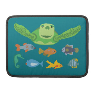 Happy Sea Turtle and Fish Swimming in the Sea Sleeve For MacBook Pro