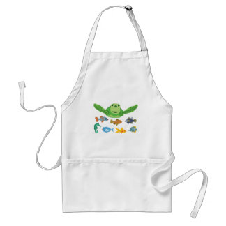Happy Sea Turtle and Fish Swimming in the Sea Standard Apron