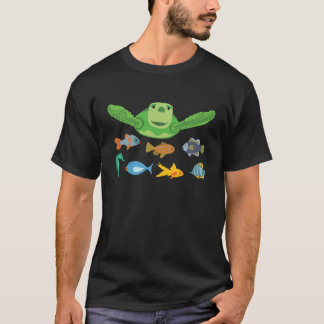 Happy Sea Turtle and Fish Swimming in the Sea T-Shirt