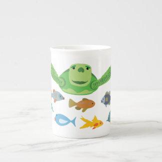 Happy Sea Turtle and Fish Swimming in the Sea Tea Cup