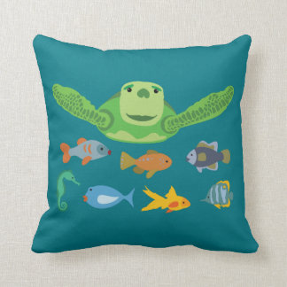 Happy Sea Turtle and Fish Swimming in the Sea Throw Pillow