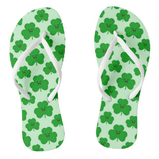 Happy Shamrock Cute Kawaii Flip Flops