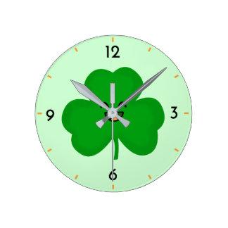 Happy Shamrock Round Clock