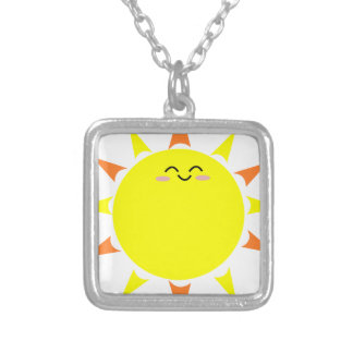 Happy Shining Sun Silver Plated Necklace