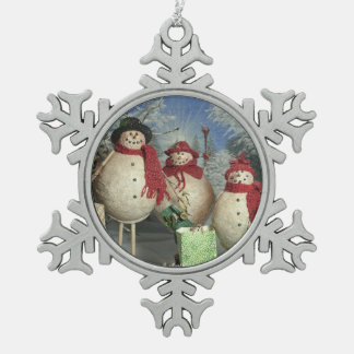 Happy Shoppers Snowflake Pewter Christmas Ornament