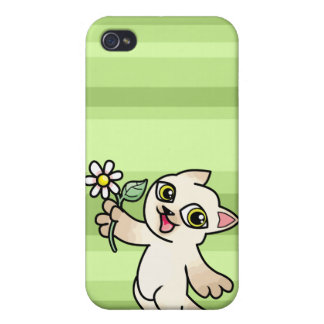 Happy Siamese cat holding Daisy Cover For iPhone 4
