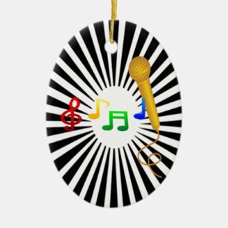 Happy Singing Music Karaoke Sweet Black White Ceramic Oval Ornament