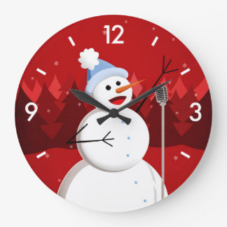 Happy Singing Snowman Christmas Clock