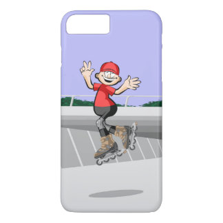 Happy skate on wheels young giving three jumps iPhone 8 plus/7 plus case