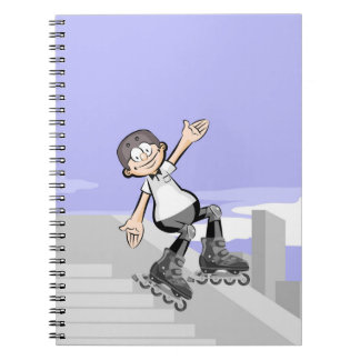 Happy skate on wheels young lowering a wall notebook