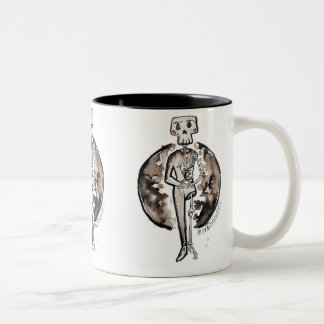 Happy skeleton with flowers Two-Tone coffee mug