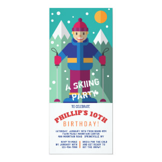 Happy Skier Invitation