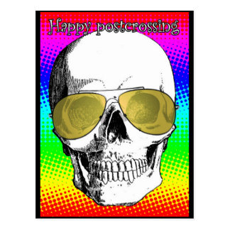 Happy skull postcard