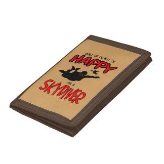 Happy Skydiver (blk) Tri-fold Wallet