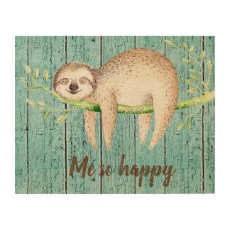 Happy Sloth Customizable Text Wood Wall Art