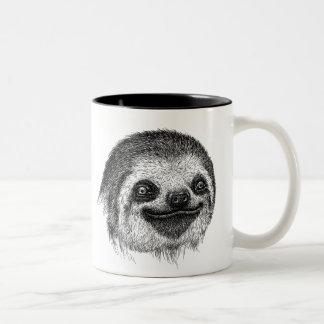 Happy Sloth Face Two-Tone Coffee Mug