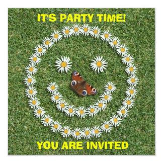 Happy Smiley Daisy Face Invitation Card