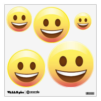 Happy Smiley Emoji Face Wall Decals 5 sizes