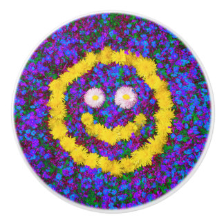 Happy Smiley Face Dandelion Flowers Ceramic Knob